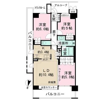 ルネ・上野桜木の間取図