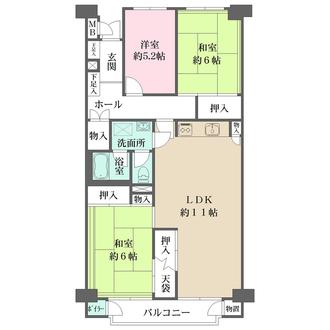 狛江ハイタウン4号棟の間取図
