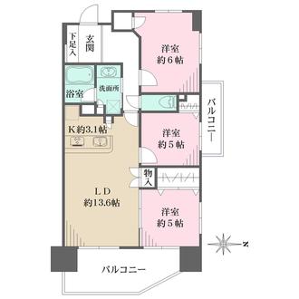 レーベンリヴァーレ町田ルージアタワーの間取図