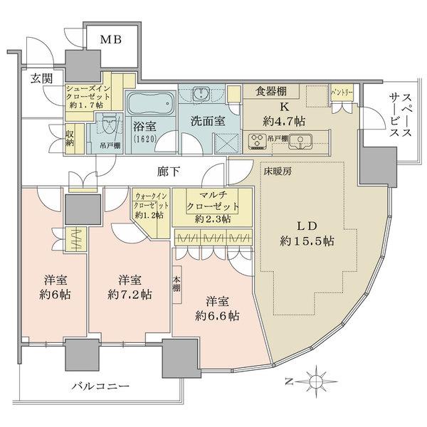 パークシティ武蔵小杉ステーションフォレストタワーの間取図