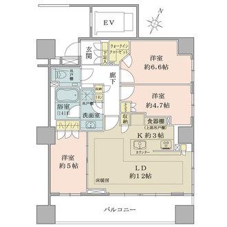 パークハウス桜新町テラスウェストの間取図