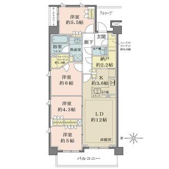 ザ・パークハウス花小金井ガーデン Ⅰ街区の間取図