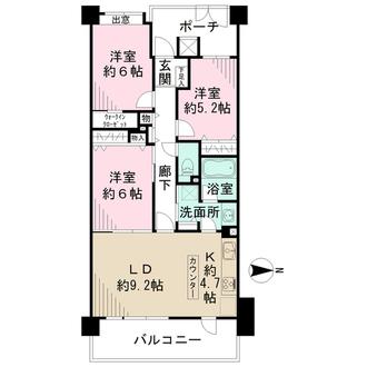 クリオ横浜大口参番館の間取図