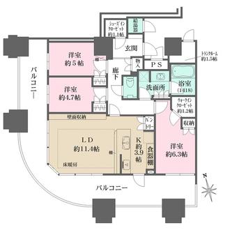 パークシティ武蔵小杉 ザ グランドウイングタワーの間取図