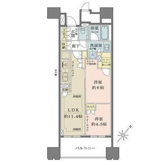 パークホームズ築地グリーンサイドの間取図