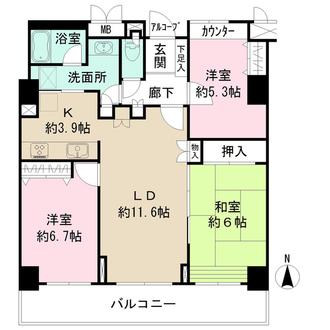 ニューシティ東戸塚パークハウス丘の街の間取図