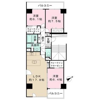 ニューシティ東戸塚パークヒルズM棟の間取図