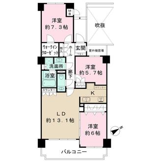 コスモ東戸塚グランパルク A棟の間取図