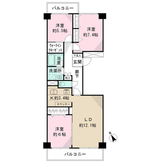 ニューシティ東戸塚 南の街4号館の間取図