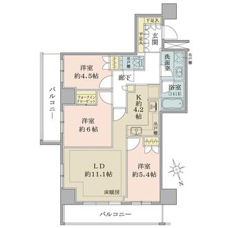 ザ・パークハウス新宿タワーの間取図