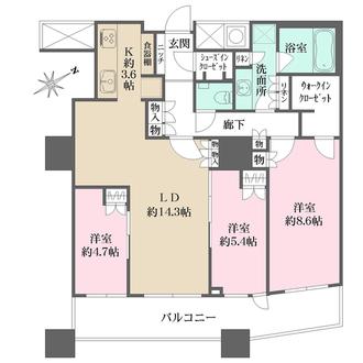 ザ・パークハウス西新宿タワー60の間取図