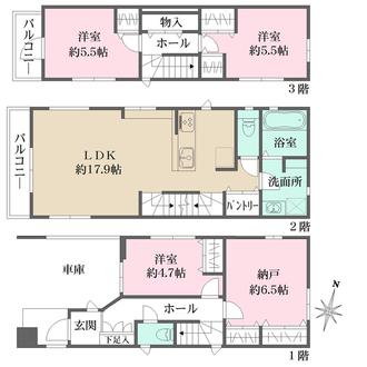 新築戸建て(1号棟)の間取図