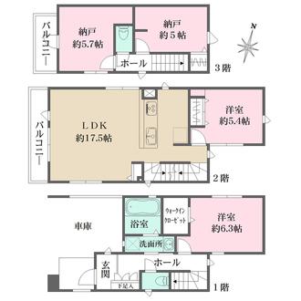 新築戸建て(2号棟)の間取図