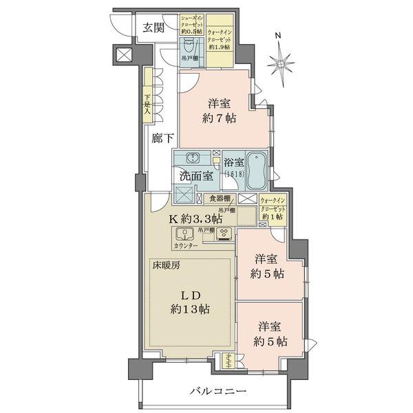 ザ・パークハウス桜新町翠邸の間取図