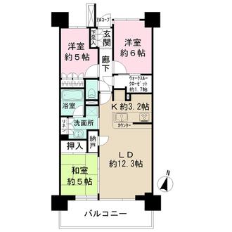 武蔵浦和SKY&GARDENC棟の間取図