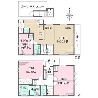 B号邸の間取図