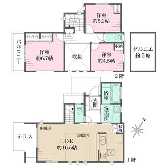 A号邸の間取図