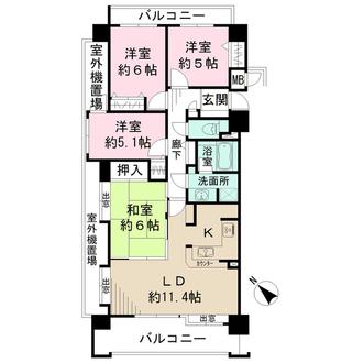 ファミール矢賀公園フォレステージの間取図