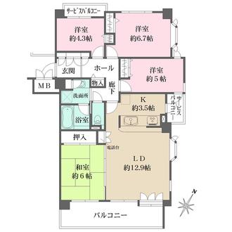 牛田パークハウスの間取図