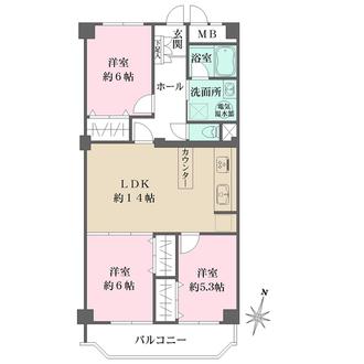 みゆきパークマンションB棟の間取図