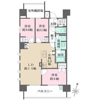ザ・パークハウス牛田本町ほおずき通りの間取図