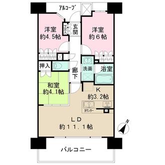 ザ・パークハウス神戸春日野道の間取図