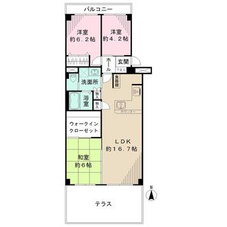 茨木レックスマンションB棟の間取図