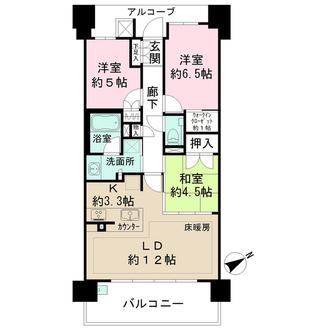 ザ・パークハウス阿倍野三明町の間取図