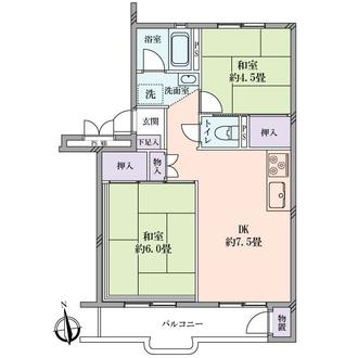新桜ヶ丘ハイツ6号棟の間取図