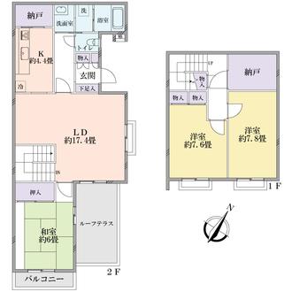 三ツ境ハイタウンテラスハウス1号棟の間取図