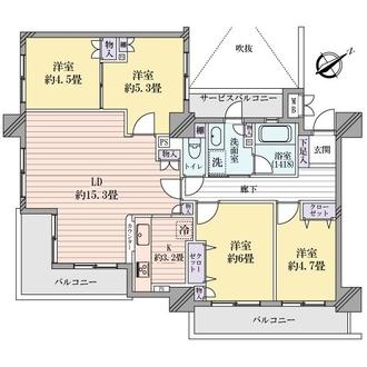 ヴィルヌーブタワー横浜・関内の間取図
