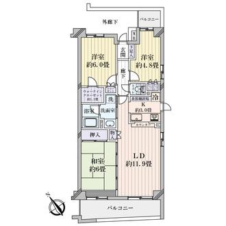 クイーンシティ稲城の間取図