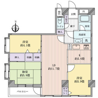 ライオンズマンション浦和別所沼公園の間取図