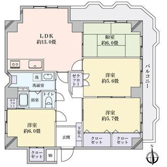 丸美タウンマンション昭和橋の間取図