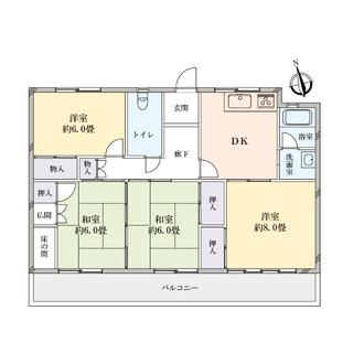 白山住宅2号棟の間取図