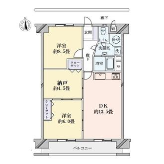 高針北住宅B棟の間取図