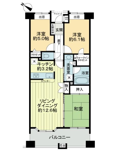 ライオンズマンション湘南台ガーデンシティの間取図