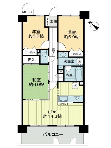 ライオンズマンション上野芝駅前の間取図