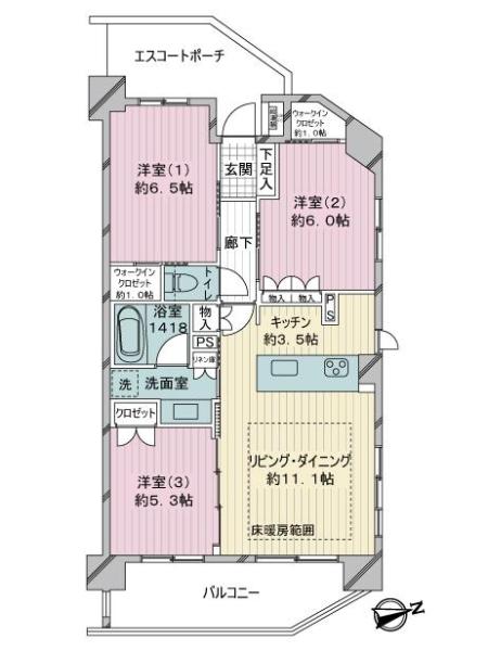 クオス新川崎夢見ヶ崎公園の間取図