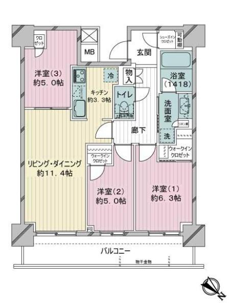 リヴァリエC棟の間取図