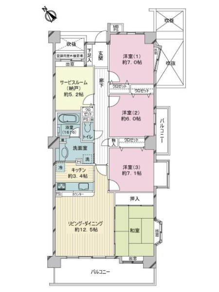 ライオンズマンション鎌倉大船の間取図