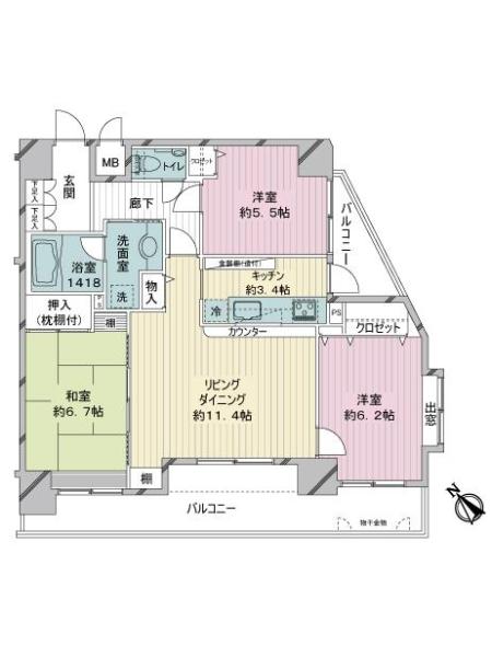 レクシオ川崎の間取図