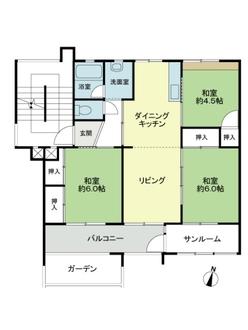 猪子石南住宅4号棟の間取図