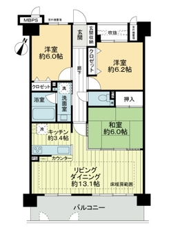 ライオンズマンション上野芝ガーデンシティの間取図