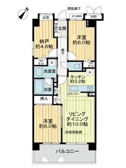 コスモ稲田堤エクシードの間取図