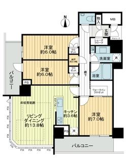 プレミストタワー大阪新町ローレルコートの間取図