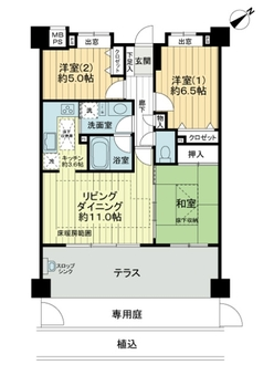 ライオンズマンション武蔵新城緑園の街弐番館の間取図