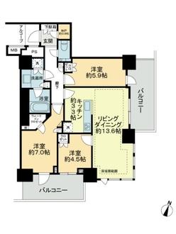 プラウドタワー千代田富士見レジデンスの間取図