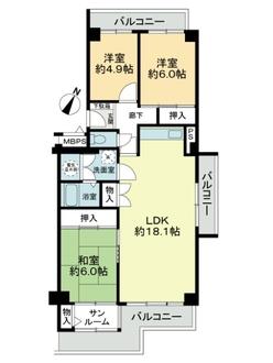 エバグリ-ン南港ポ-トタウン12号棟の間取図