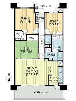 ライオンズマンション鴻池新田の間取図